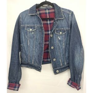 American Eagle flannel lined jean jacket Sz M